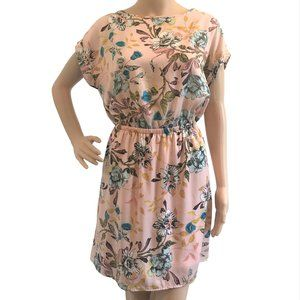 LE LIS Boutique Pink Floral Dress L Made In USA